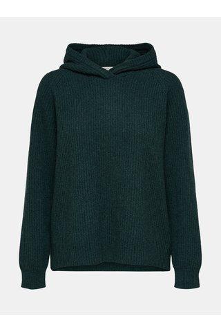 Pulover verde inchis oversize din lana cu gluga Selected Femme Kenna