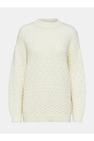 Pulover crem oversize cu amestec de lana Selected Femme Hilla