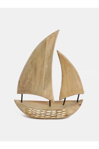 Decoratie din lemn in forma de barca maro deschis Kaemingk