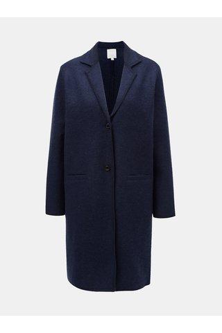 Tmavě modrý dámský vlněný kabát Yerse