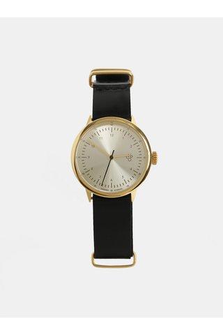 Dámské hodinky s černým koženým páskem CHPO Harold Mini Gold