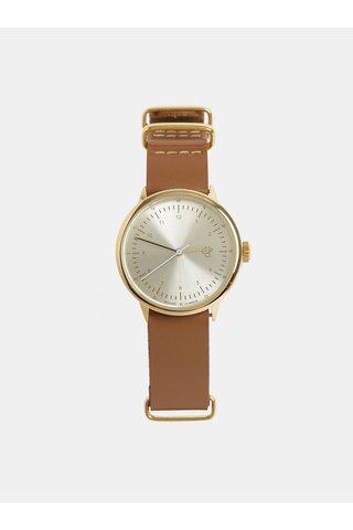 Dámské hodinky s hnědým koženým páskem CHPO Harold Mini Gold
