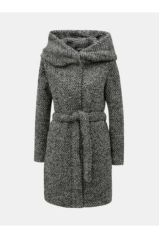 Šedý žíhaný kabát s velkou kapucí a příměsí vlny VILA