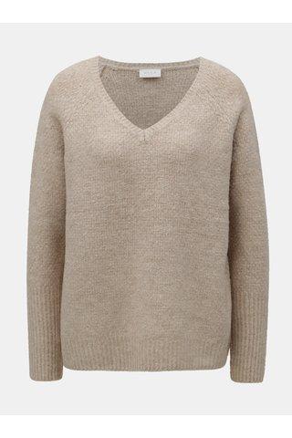 Béžový oversize svetr s příměsí vlny VILA