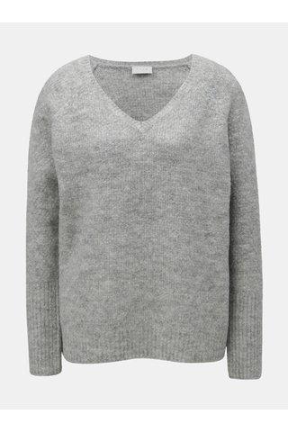 Šedý žíhaný oversize svetr s příměsí vlny VILA
