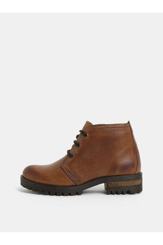 Hnědé kotníkové kožené boty OJJU