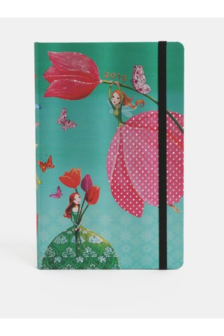 Agenda saptamanala 2019 roz-verde cu motiv zana Paperblanks
