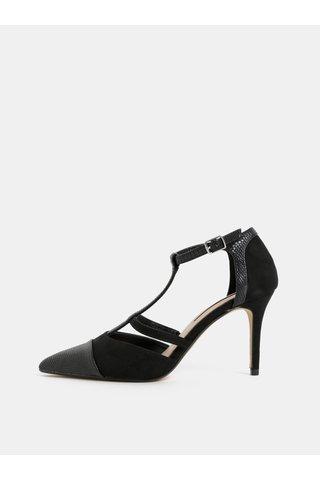 Sandale negre cu detalii din piele intoarsa Dorothy Perkins