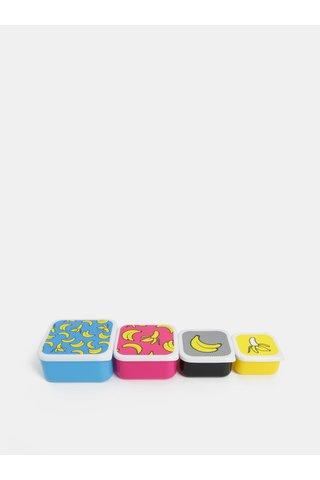 Sada čtyř svačinových boxů v modré, růžové, černé a žluté barvě Mustard