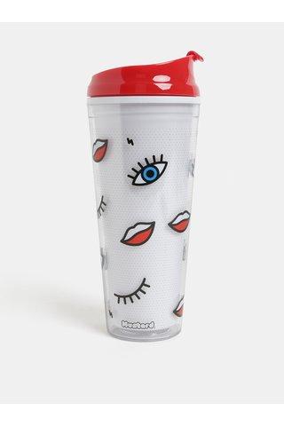 Červeno-bílý cestovní hrnek s motivem očí a rtů Mustard