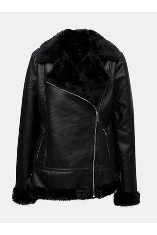 Černý koženkový křivák s vnitřním umělým kožíškem Dorothy Perkins