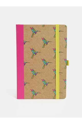 Brosura roz-maro cu motiv pasari colibri si legatura fixa Mustard