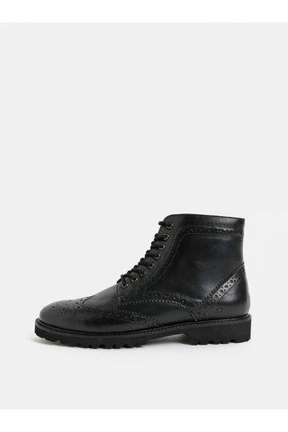Černé pánské kožené kotníkové brogue boty London Brogues