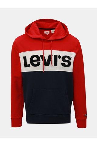 Hanorac barbatesc albastru-rosu in dungi cu text Levi's®