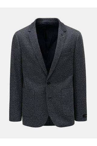 Sacou barbatesc albastru inchis cu model discret Burton Menswear London