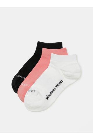 Set de 3 perechi de sosete roz, alb, negru Kari Traa