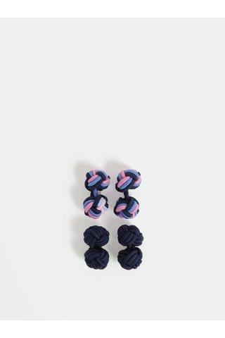 Set de 2 perechi de nasturi mansete roz-albastru Burton Menswear London