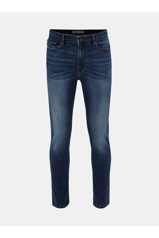 Blugi albastru inchis slim fit din denim cu aspect prespalat Burton Menswear London