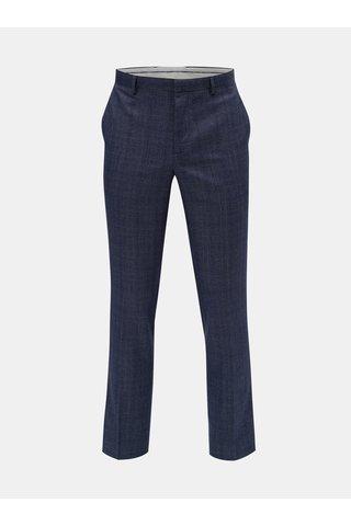 Pantaloni plisati albastri tartan slim fit Burton Menswear London