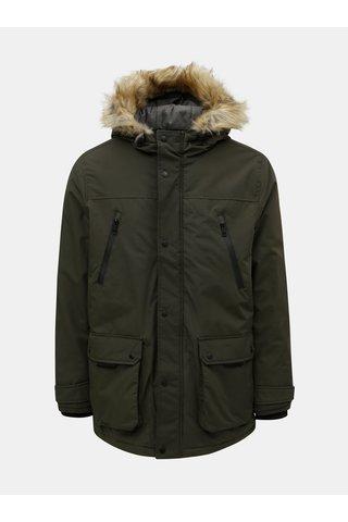 Geaca de iarna kaki cu blana artificiala Burton Menswear London