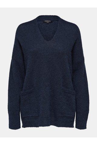 Pulover albastru oversize cu amestec de lana si mohair Selected Femme Livana
