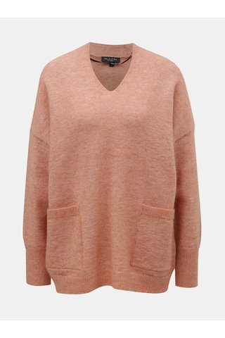 Pulover roz oversize cu amestec de lana si mohair Selected Femme Livana
