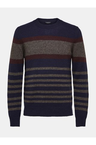Pulover maro-albastru din lana Selected Homme