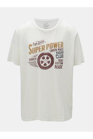 Tricou alb cu imprimeu Jack & Jones