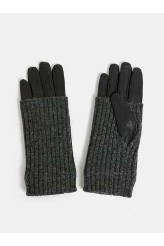 Manusi negre din piele cu tricotaje mormane din lana VERO MODA Mie
