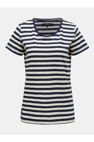 Krémovo-modré dámské pruhované tričko s krátkým rukávem Makia Verkstad