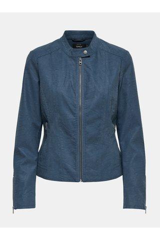 Jacheta albastra din piele sintetica cu detalii argintii ONLY Saga
