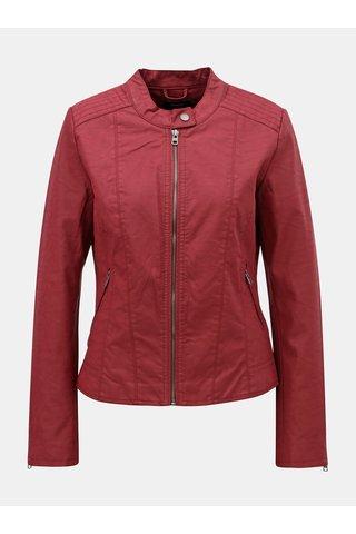 Jacheta rosie din piele sintetica cu detalii argintii ONLY Saga