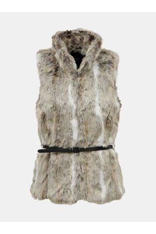 Béžová vesta z umělého kožíšku s páskem ONLY New Amy