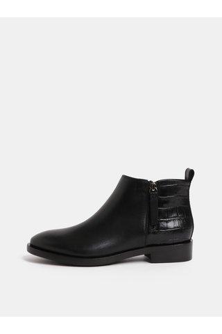 Černé dámské kožené kotníkové boty se zipy Geox Brogue
