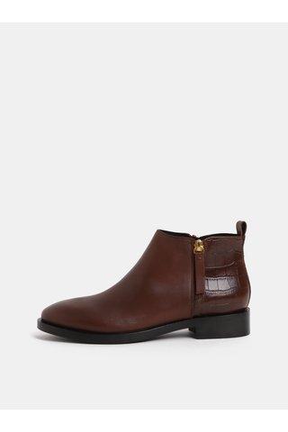 Hnědé dámské kotníkové kožené boty se zipy Geox Brogue