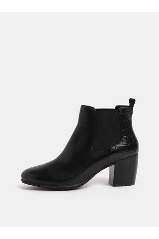 Černé dámské kožené chelsea boty na podpatku Geox Lucinda