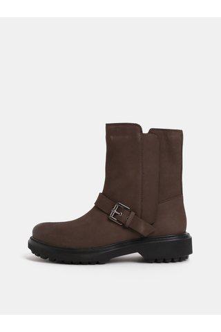 Hnědé dámské kožené kotníkové boty s přezkou Geox Asheely