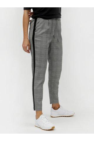 Pantaloni gri pana la glezne in carouri cu dungi ONLY