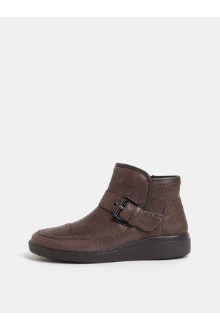 Hnědé dámské kožené kotníkové boty s páskem Geox Tahina