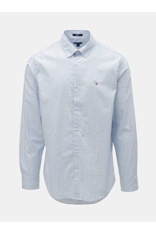 Camasa alb-albastru in dungi regular fit cu broderie GANT
