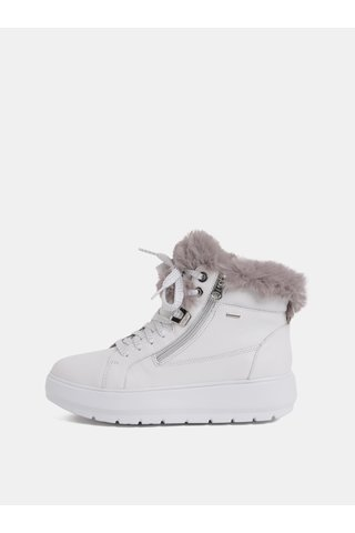 Bílé dámské kožené zimní boty na platformě Geox Kaula
