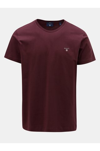 Vínové pánské tričko s krátkým rukávem a s výšivkou GANT