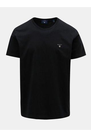 Tricou barbatesc negru cu maneci scurte si broderie GANT
