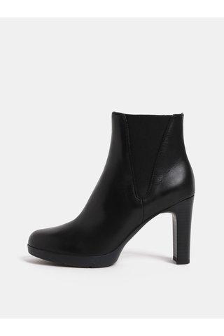 Černé dámské kožené kotníkové boty na vysokém podpatku boty Geox Annya