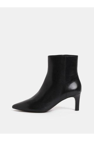 Černé dámské kožené kotníkové boty na úzkém podpatku Geox Bibbiana