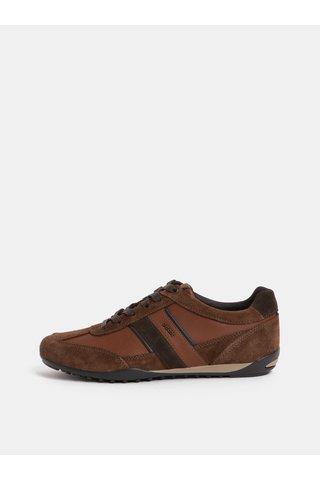 Pantofi sport barbatesti maro din piele cu detalii din piele intoarsa Geox Wells