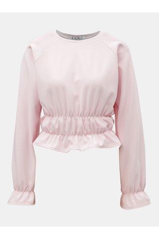 Růžové žebrované crop tričko s dlouhým rukávem ELVI