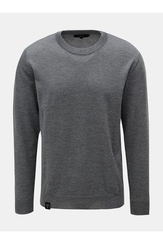 Šedý pánský lehký svetr z Merino vlny Makia Merino
