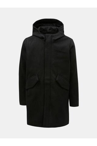 Černý pánský vlněný kabát s kapucí Makia