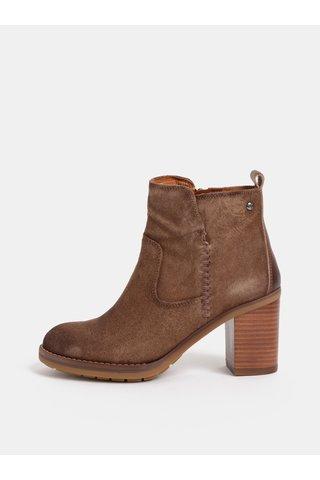 Hnědé kožené kotníkové boty na podpatku Pikolinos Stone